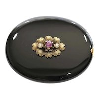 Antique Victorian Lady's Gold Onyx, Ruby & Pearl Brooch