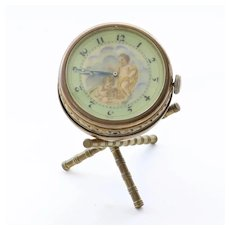 Rare Circa 1890 Art Nouveau Swiss Musical Drum Clock