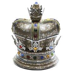 Vintage Crown Musical Jewelry Box