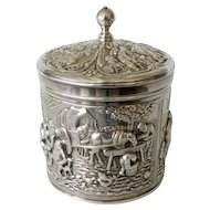 Vintage Circa 1920's Repousse Silver Plate Covered Box