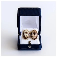 Vintage 14K Porcelain Lady's Owl Earrings