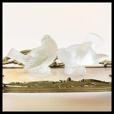Pair Vintage Signed Lalique France Frosted Birds