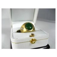 Vintage Gent's 18K  Gold Ring with Jadeite Cabochon and diamond