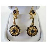 Exquisite Vintage 18K Pair Garnet Drop Earrings