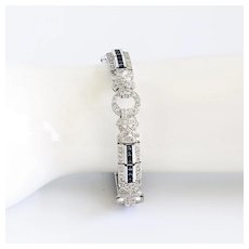 Spectacular Vintage Lady's Red Carpet 18K Diamond & Sapphire Bracelet