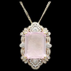 "Magnificent 18K 5 Ct. Diamond Carved Kunzite Brooch & 25"" 14K Chain"