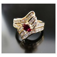 Lady's Vintage 14K Ruby & Diamond Ring