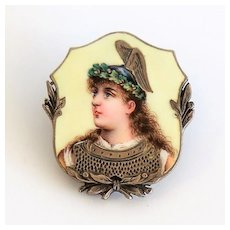 Circa 1860 Antique Enameled Goddess Nike Portrait Pin
