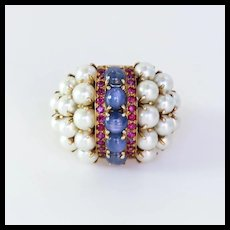 Lady's Circa 1920's Vintage 14K Sapphire, Cultured Pearl & Ruby Ring