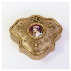 Circa 1880 Antique French Artist Signed Porcelain Portrait Ring Box