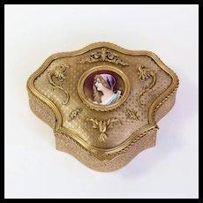 Circa 1880 Antique French Artist Signed Porcelain Portrait Ring Box