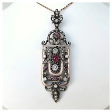 Exquisite Antique Victorian Diamond, Ruby & Pearl Gold & Silver Lavelier