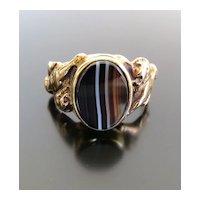 Gent's Antique Art Nouveau 14K Agate Ring