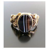 Gent's Antique Art Nouveau 14K Agate Ring