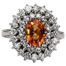 Vintage Custom Lady's 14K Diamond & Spessartite Garnet Ring