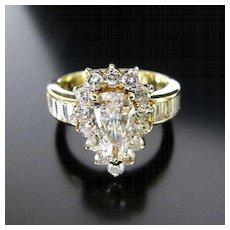 Lady's 14K Vintage Brilliant Pear Shape Diamond Ring