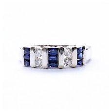 Lady's Vintage 14K White Gold Sapphire & Diamond Ring