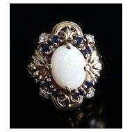Lady's Vintage 14K Opal, Sapphire & Diamond Ring