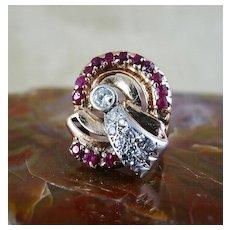 Beautiful  Art  Deco  Lady's  14K  Rose  Gold  Ruby  &  Diamond  Ring