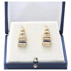 Lady's Rose Gold Diamond & Sapphire Earrings