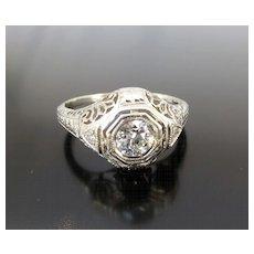 Outstanding 14K Art Deco Filigree Diamond Ring