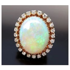 Fabulous Vintage Lady's 14K 25 Ct. Opal & Diamond Ring