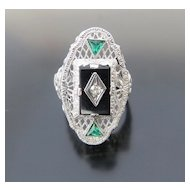 Lady's Vintage 14K White Gold Onyx & Diamond Filigree Ring