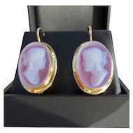 Vintage Ladys 18K Elegant Hard Stone Cameo Earrings