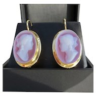 Vintage Ladys 18K Elegant Hard Stone Cameo Earrings