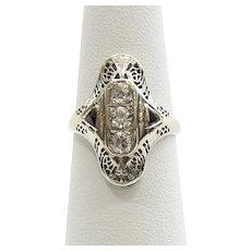 Antique Circa 1910 Lady's 18K Diamond & Sapphire Ring