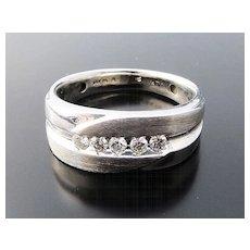 Handsome Vintage Gent's 14K W/G Diamond Band Ring
