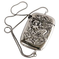 Antique Circa 1890 Art Nouveau Sterling Figural Match Safe