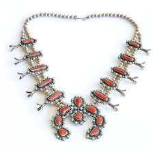 Magnificent Vintage Navajo Sterling, Coral & Turquoise Squash Blossom Necklace
