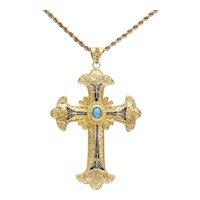 Beautiful Antique 18K Enameled & Turquoise Greek Cross