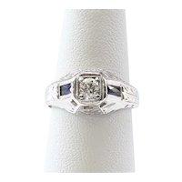 Lady's Antique 18K Sapphire & Diamond Ring