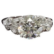 Lady's Circa 1920's Art Deco Platinum 2.47 Ct. Diamond Ring