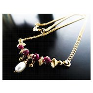 Lady's Vintage 22K Ruby & Pearl Necklace
