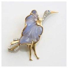 Fabulous Vintage 14k Chalcedony Sapphire & Diamond Stork Brooch