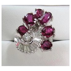 Lady's Vintage 18K  Art Deco Spinel & Diamond Ring