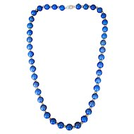 Lady's Vintage 14K Beaded Lapis Necklace