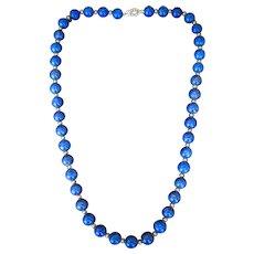 Lady's Vintage 14K Beaded Lapis Necklace