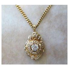 Exceptional Vintage Lady's 18k Diamond Pendant & Chain