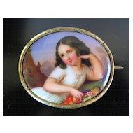 Antique Circa 1870 Porcelain Portrait  Brooch