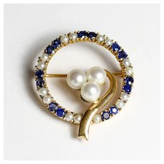 Vintage Circa 1940's Lady's 14K Sapphire & Pearl Brooch