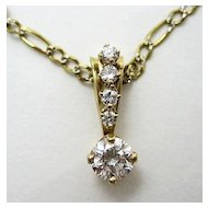 Estate 14k Diamond Drop Pendant & Chain