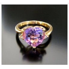 Lady's Vintage 14K Heart Shaped Amethyst & Diamond Ring