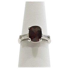 Lady's Vintage Platinum Garnet & Diamond Ring