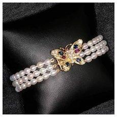 Lady's Vintage 14K Cultured Pearl Bracelet With Diamond Gem Stone Butterfly Clasp
