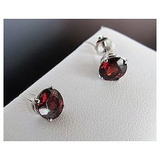 Lady's Custom 14K White Gold Rhodolite Garnet Stud Earrings