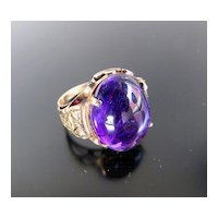 Lady's Antique Circa 1900 14K Cabachon Amethyst Ring